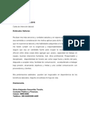 Carta De Intecion Laboral 2010