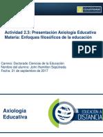 John Hamilton Sepúlveda. 2.3 Axiología educativa