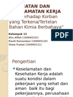KEL 12,k3(p3k  terhadap korban yang terkena bahan  kimia berbahya)