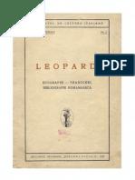 Leopardi Biografie,Traduceri,Bibliografie Romaneasca