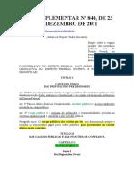 Lei Comlementar 840 de 2011 (Estatuto dos Servidores Públicos Civis do DF)