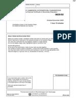November 2005 QP - Paper 2 CIE Physics IGCSE