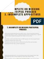 PARTICIPIAL PHRASES AND APPOSITIVES