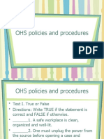 OHS policies and procedures