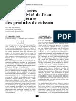 Effet Des Sucres Et de l'Activité de l'Eau Sur La Structure Des Produits de Cuisson
