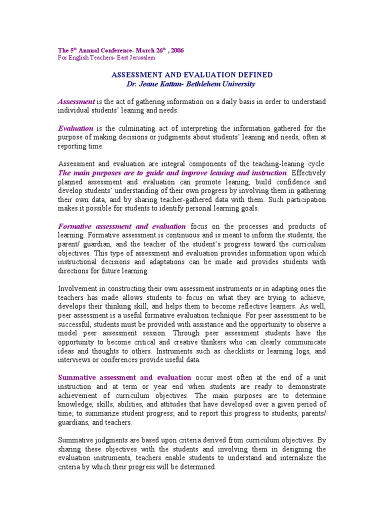 Assessmentandevaluationdefined11 Educational Assessment Test