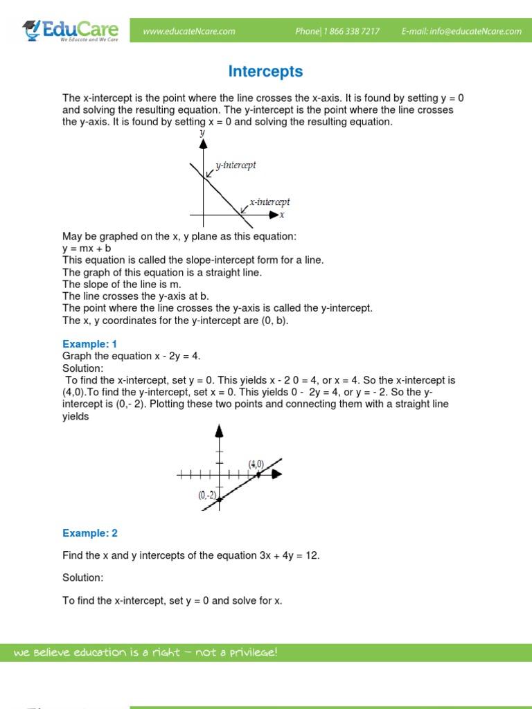 Math Worksheet Intercepts