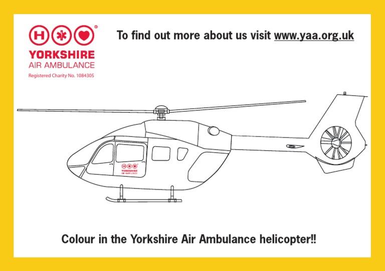 Yorkshire Air Ambulance Colouring Sheet
