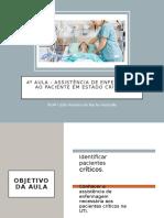 4º Aula -Assistência de Enfermagem ao Paciente crítico