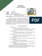 Classroom Environment Project- Syllabus
