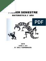 Cuadernillo 3° Año 1° Semestre Matematica 2019