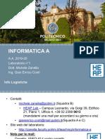 Laboratorio 1 Informatica A (Ing. Gestionale) (Zanella)