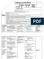 Plan de asignatura 2020 de  6° 1 Periodo  Ciencian Naturales
