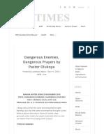 Dangerous Enemies, Dangerous Prayers by Pastor Olukoya _ Flatimes