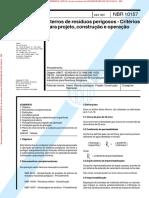 NBR10157 - Aterros de resíduos perigosos - Critérios para projeto, construção e operação