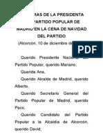 Esperanza Aguirre en la Cena de Navidad del Partido Popular de Madrid (2010)