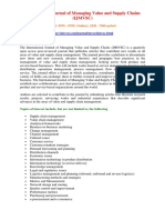 International Journal of Managing Value and Supply Chains (IJMVSC)