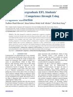 Developing undergraduate EFL Students' Communicative Competence through Using Pragmatic Instruction