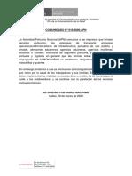 Comunicado APN 010-2020 sobre USO mascarillas COVID19