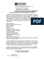 Comunicado APN 011-2020 sobre servicios esenciales