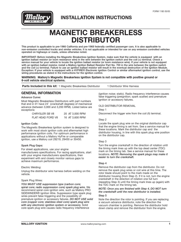 Ignition Coil Wiring Diagram Mallory Unilite Ignition Wiring Diagram