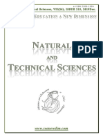 SCIENCE and EDUCATION a NEW DIMENSION NATURAL and TECHNICAL SCIENCE Issue 215