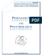 SCIENCE and EDUCATION a NEW DIMENSION PEDAGOGY and PSYCHOLOGY Issue 222