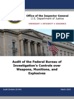 DOJ IG - Audit of the FBI's Controls Over Weapons, Munitions, And Explosives