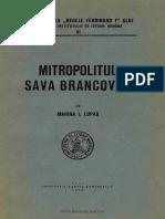 M. Lupas, Mitropolitul Sava Brancovici