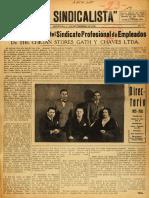 El Sindicalista - órgano oficial del Sindicato Profesional de Empleados de The Chilean Stores Gath y Chaves Ltd.