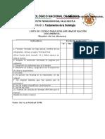 Lista de Cotejo Investigación Documental