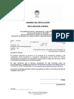 PERMISO DE CIRCULACIÓN DECLARACIÓN JURADA