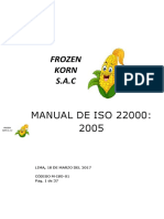 Manual de Seguridad Alimentaria Iso 22000 Mepresa Agroindustrial Frozen Korp Frutas y Verduras Congeladas