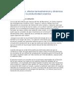Radiación Solar, Efectos termodinámicos y dinámicos en la productividad oceánica