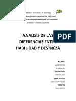 ANALISIS DE LAS DIFERENCIAS ENTRE HABILIDAD Y DESTREZA..jose ferrer .educacion fisica,corte 2018