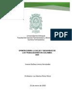 Ensayo - Mi Opinión Sobre La Salud y Seguridad De Los Trabajadores En Colombia 2020