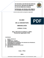 SILABO DE INMUNOLOGIA FINAL  2019-I    TEC. MED.