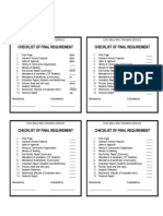 Checklist of requirement