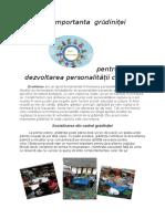 Importanta gradinitei pentru   dezvoltarea personalitatii copilului-Iordache Mihaela