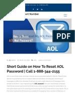 AOL Won't Reset My Password