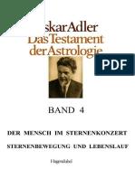 OSKAR  ADLER - TESTAMENT  DER  ASTROLOGIE - 4. BAND - Der Mensch Im Sternenkonzert