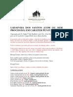 LADAINHA DOS SANTOS (COM OU SEM PROCISSÃO) EM CARÁTER PENITENCIAL