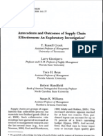 Antecedents and Outcomes of Supply Chain Effectiveness