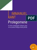Immanuel Kant- Prolegomene la orice metafizică viitoare care se va putea înfăţişa drept ştiinţă.pdf