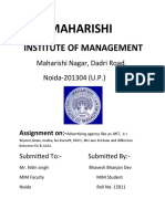Assignment of Advertising Agency(Roll No-15011)