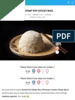 Instant Pot Sticky Rice Recipe | Pressure Cook Recipes