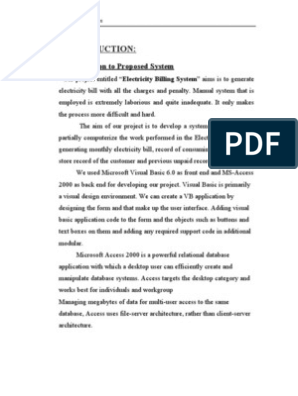 Electricity Bill Project Report | Feasibility Study | Databases