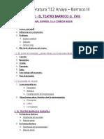 Literatura T12 Anaya - Teatro Barroco - en blanco