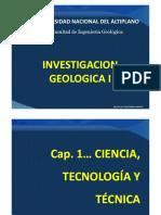 CAP. I  CIENCIA, TECNOLOGÍA Y TÉCNICA