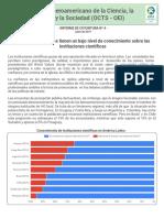 2019_Informe de coyuntura N° 04 Los latinoamericanos tienen un bajo nivel de conocimiento sobre las instituciones científicas